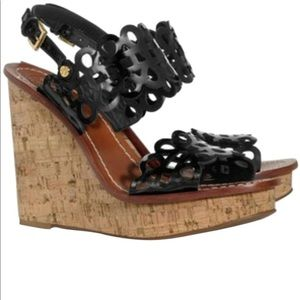 Tory Burch Black Nori Perforated Wedge Sandals